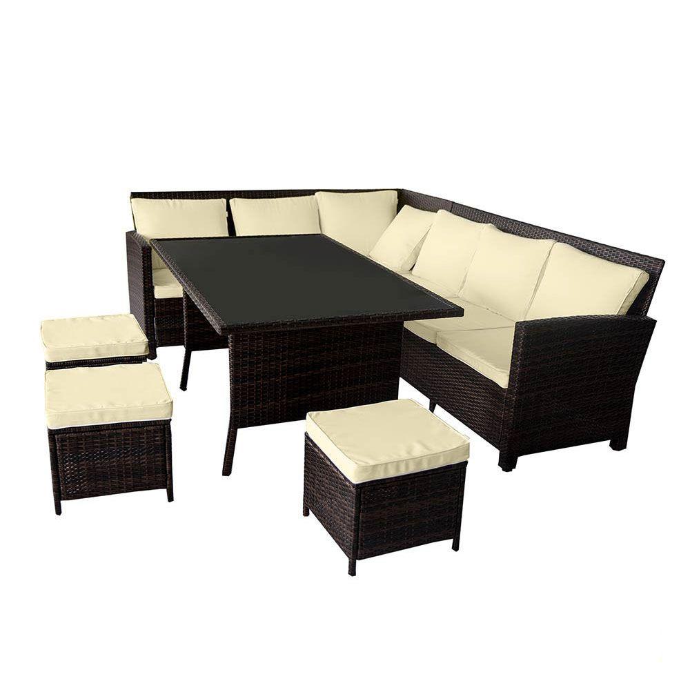 Buy Luxo Miramar 2 In 1 Wicker Outdoor Sofa Dining Set Brown
