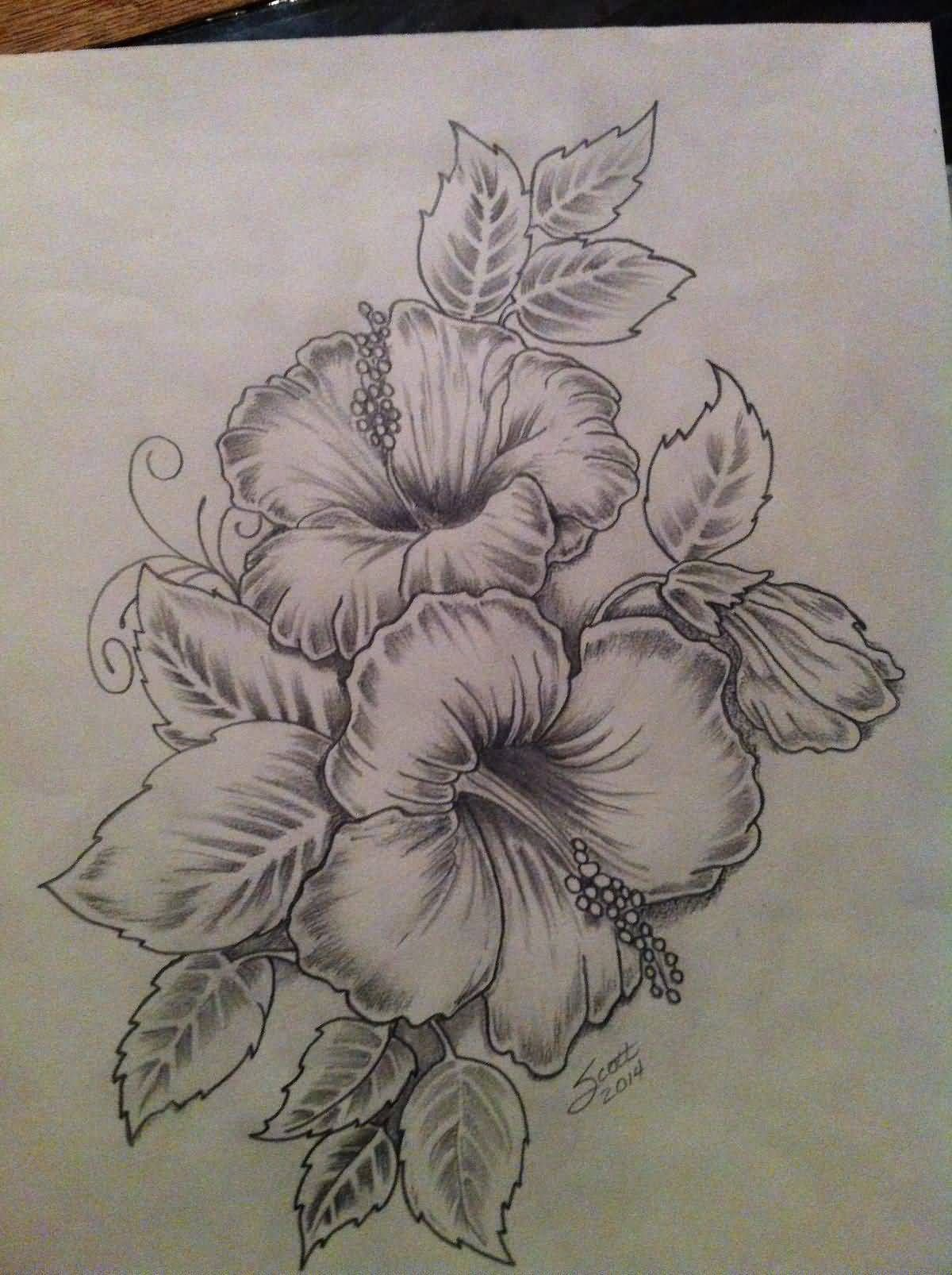 Nice Hibiscus Flowers Tattoo Drawing Tattoos