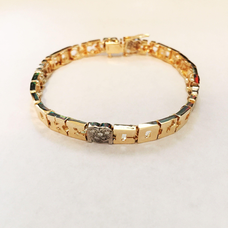 14K Gold Family Name Bracelet Letters with Diamond Heart