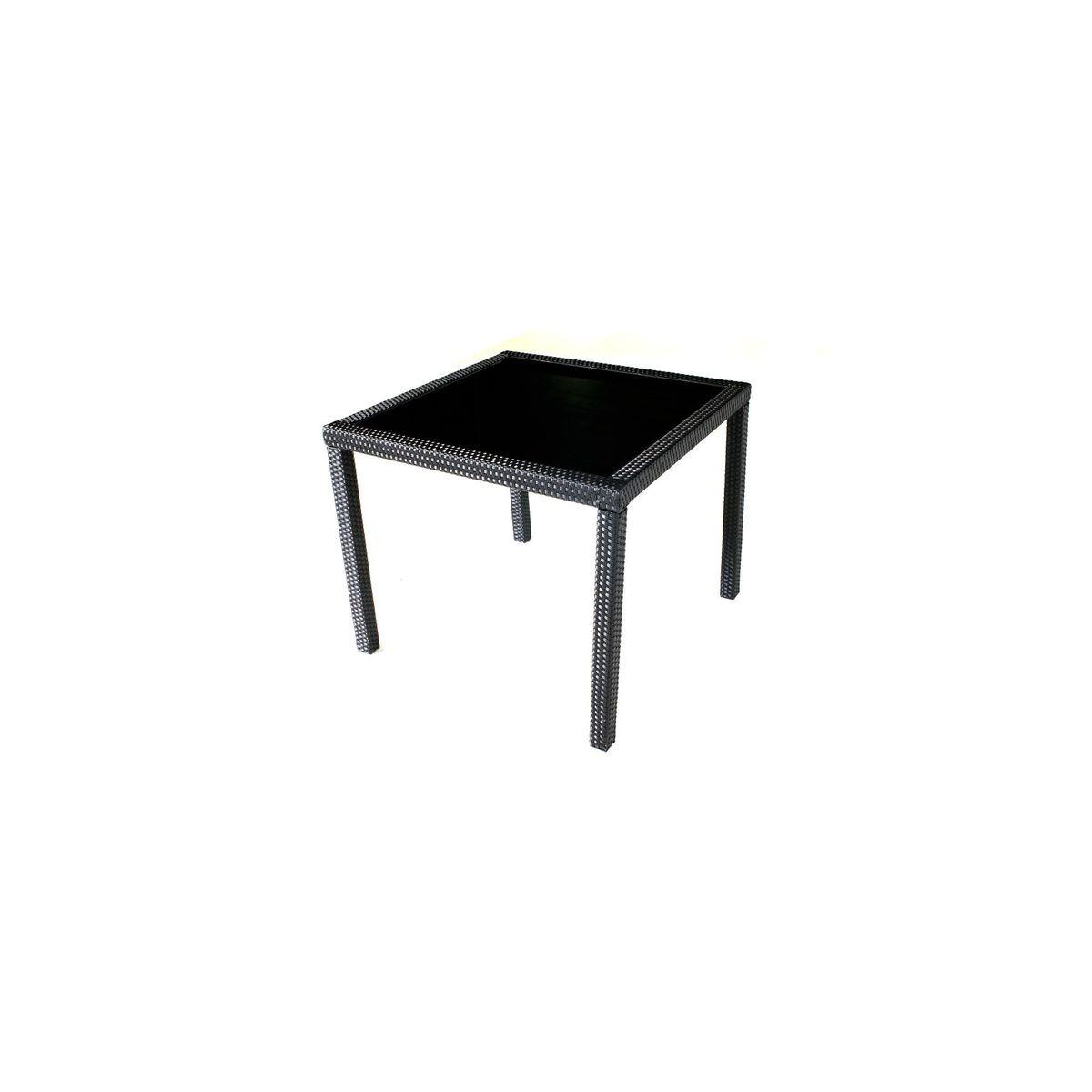Table De Jardin En Résine Tressée Noir 80x80 Cm - Taille : 4 pers en ...