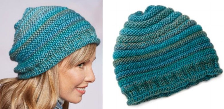 The alternating stripes of knit and purl rounds make this simple knitted  style slouch hat the perfect hat for chilly days . c69507491ae