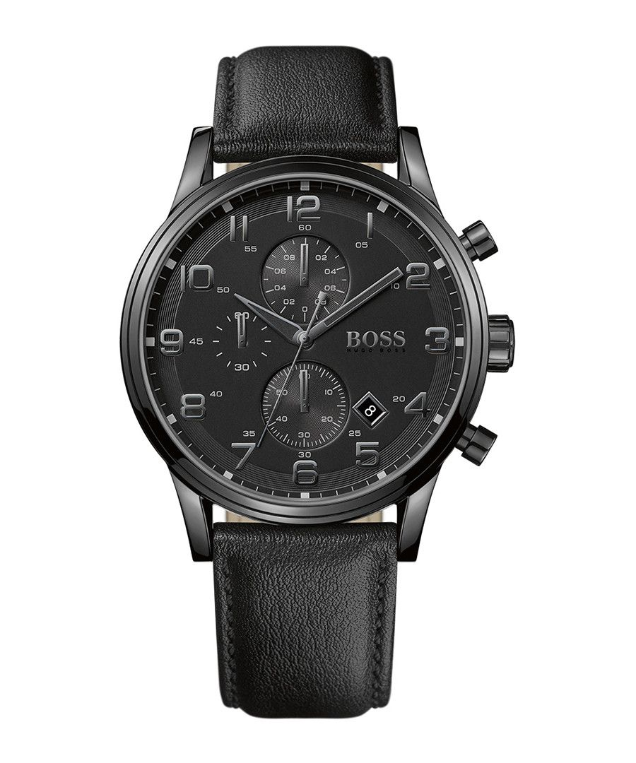 0d15b3801665 40 % off - Hugo Boss Aeroliner black steel   leather watch