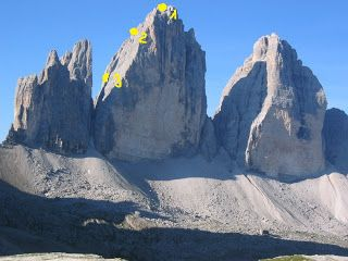 The famous group of mountains called Drei Zinnen / Tre Cine di Lavaredo (2.999m) Position 1 - Italian searchlight, position 2,3 - Italian cannon.