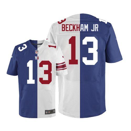 689e1b11ef2 Men s Nike New York Giants  13 Odell Beckham Jr Limited Blue White Split  Fashion