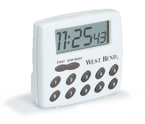 West Bend Digital Timer, White by West Bend. $12.59. Take the guesswork out of baking and cooking with West Bend's digital timer. Easy-to-read jumbo LCD display; built-in alarm function. A single AAA battery is required for power and comes included. Counts up to and from 100 hours, giving plenty of time for most any cooking task. Included clip, stand, magnet, and hanging hole make it easy to put the timer anywhere it's needed. Features: LCD readout. Electronic alarm...