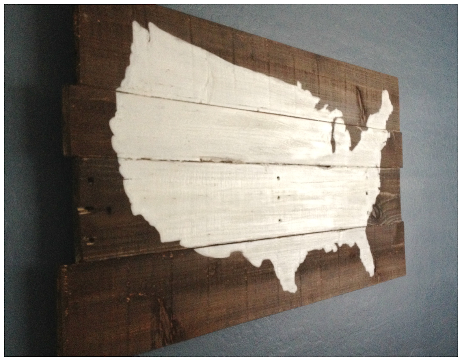 Reclaimed wood DIY united states sign Painted
