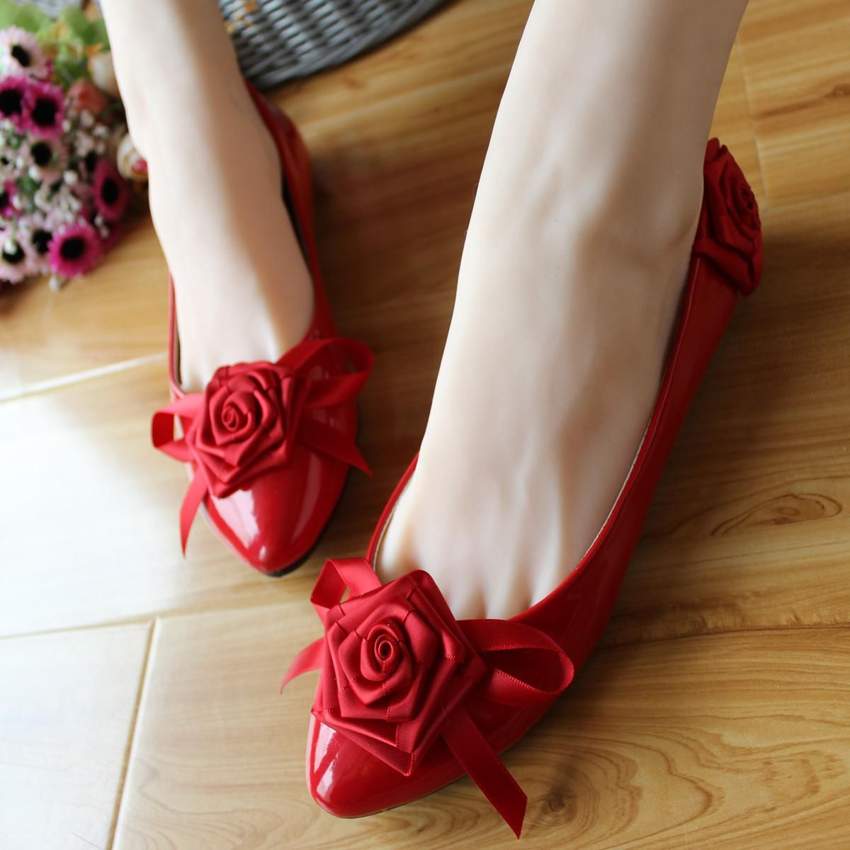 Wholesale Dress Shoes Buy Aesthetic Handmade Wedding Shoes Red Bow Flat Rose Bridal Low Heeled Bridal Shoes Flats Wedding Shoes Flats Handmade Wedding Shoes