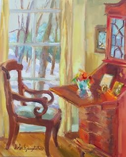 Still Life Artists International Still Life Interiors Oil Painting Desk Chair Windows  The Comforts of Home  by Georgia Artist Deanna Jaugstetter & Still Life Artists International: Still Life Interiors Oil Painting ...