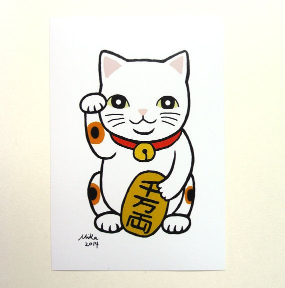 Cat Illustration Lucky Cat Illustration Print Japanese By Mikaart 8 99 Lucky Cat Tattoo Lucky Cat Cat Tattoo Designs