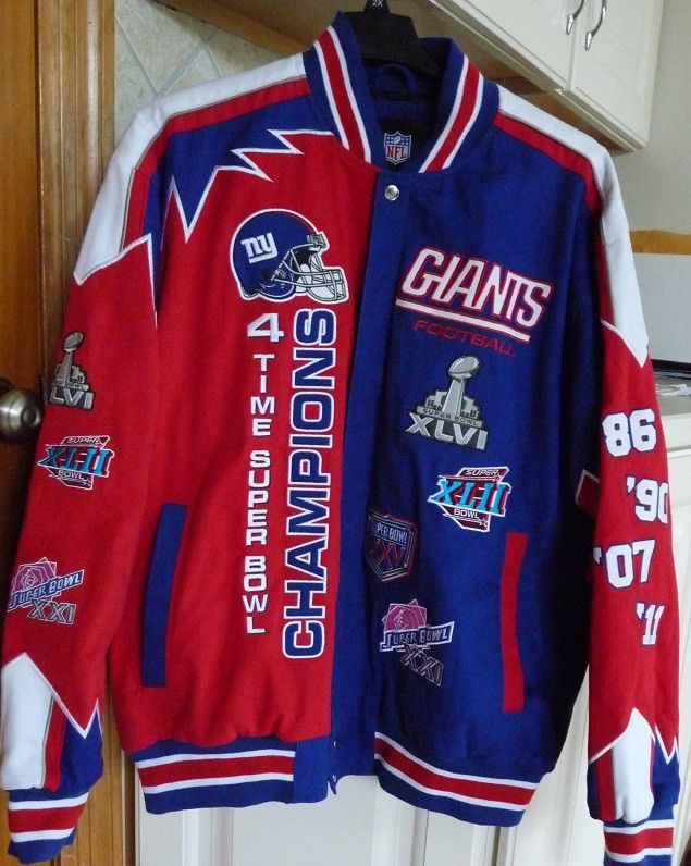 New York Giants 4 Times Superbowl Champion NFL Twill Jacket   We ship  Worldwide  Great item for Birthday s Gift f2ec865fc