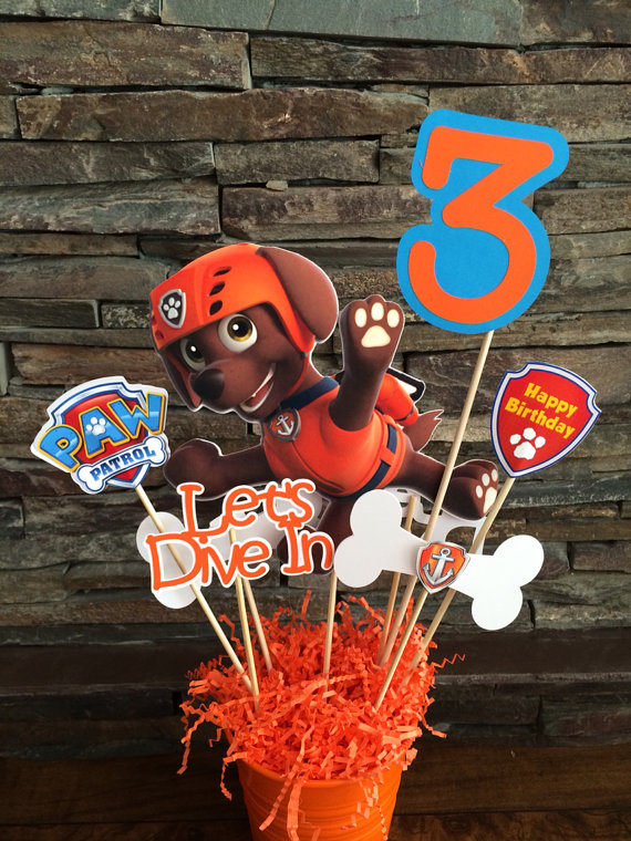 Paw Patrol Zuma Centerpiece INSERTS ONLY One Double Sided About 75x5 Two Bones With Pups Badge Catchphrases Happy Birthday