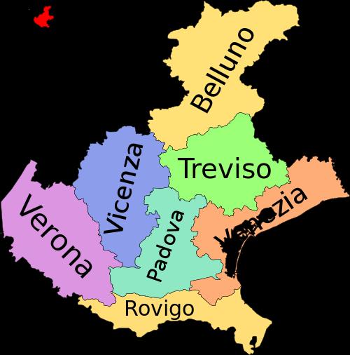 Cartina Politica Italia Verona.Mappa Provinciale Del Veneto Imparare L Italiano Mappa Dell Italia L Insegnamento Della Geografia