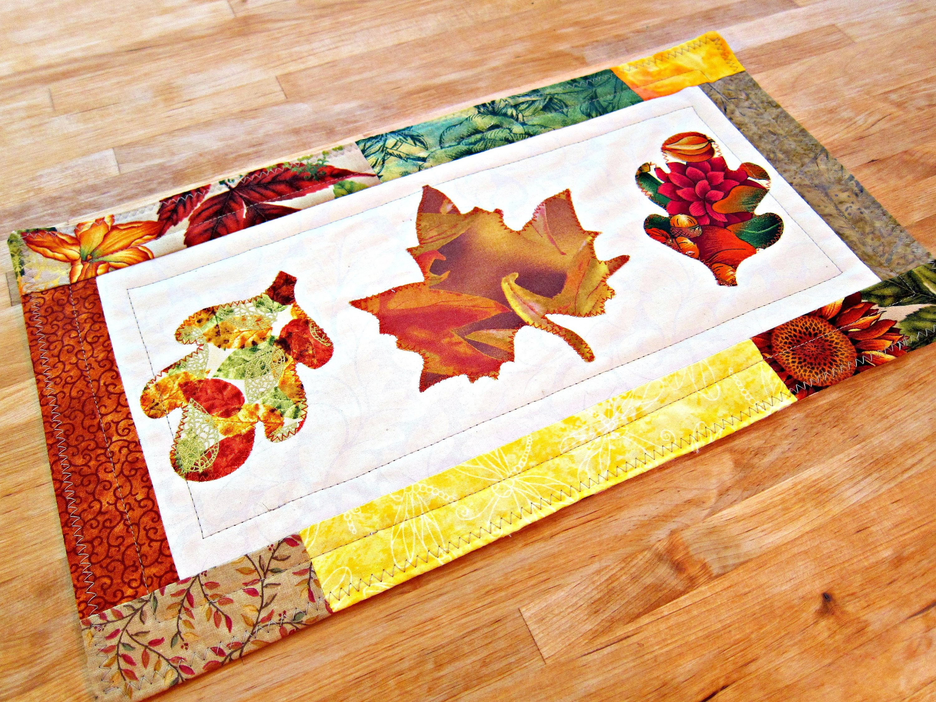 Quilted Table Runner Fall Decor Autumn Decoration Fall Table Runner Quilted Table Topper