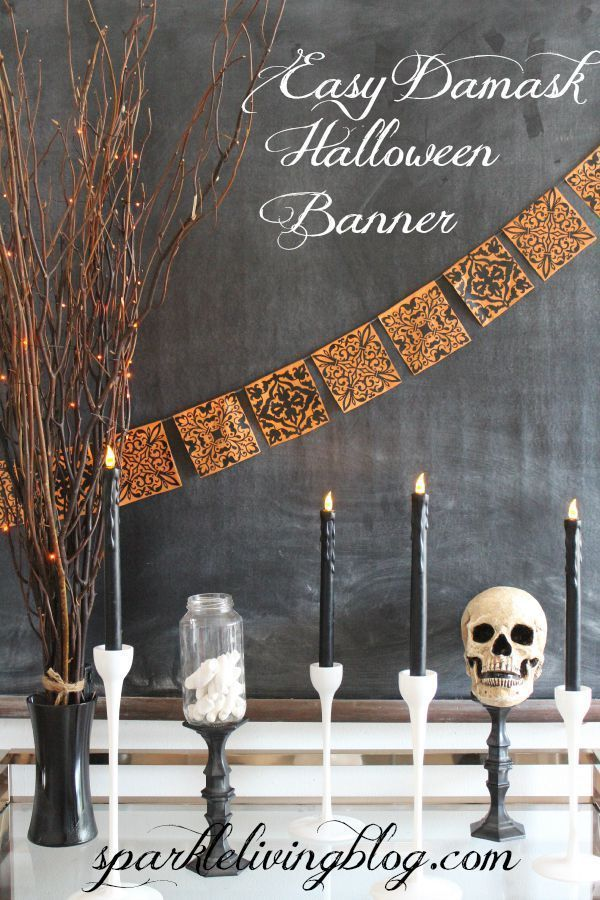 Easy Damask Halloween Banner Halloween banner, Spooky halloween - create halloween decorations