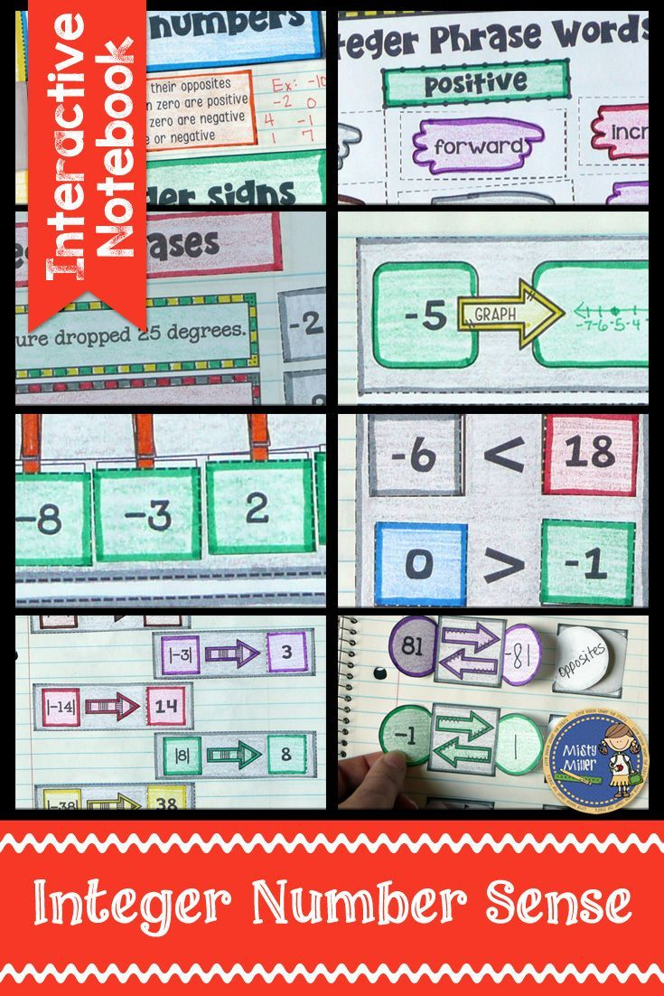 Integers Number Sense Interactive Notebook | Maths, Maths resources ...