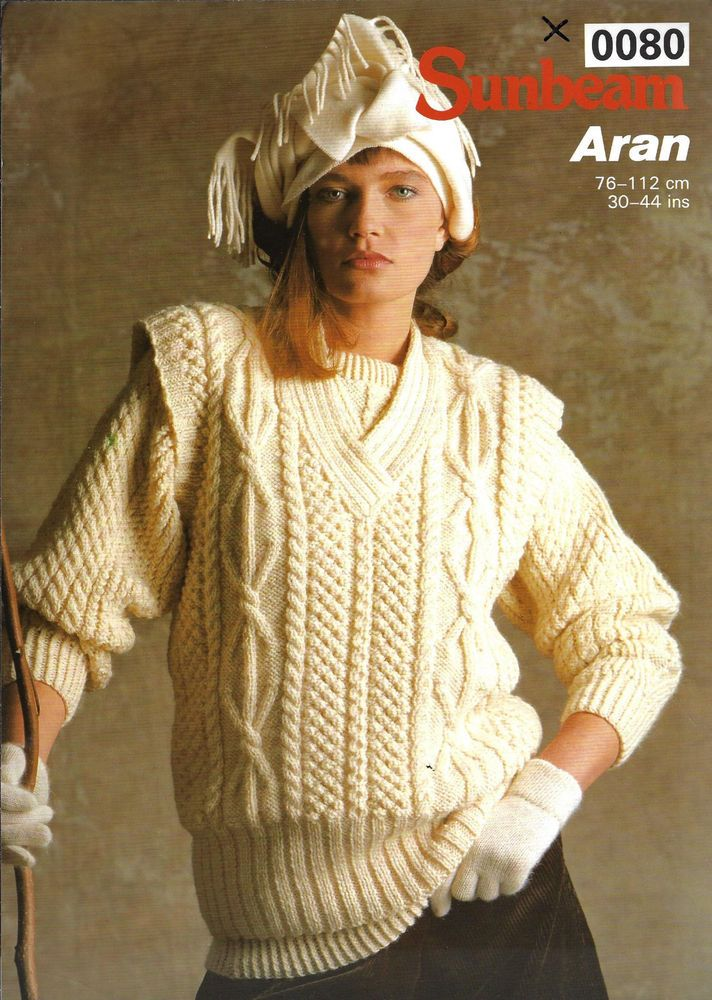 Womens Cable Aran Vest Sunbeam 0080 Knitting Pattern 10 Ply Yarn