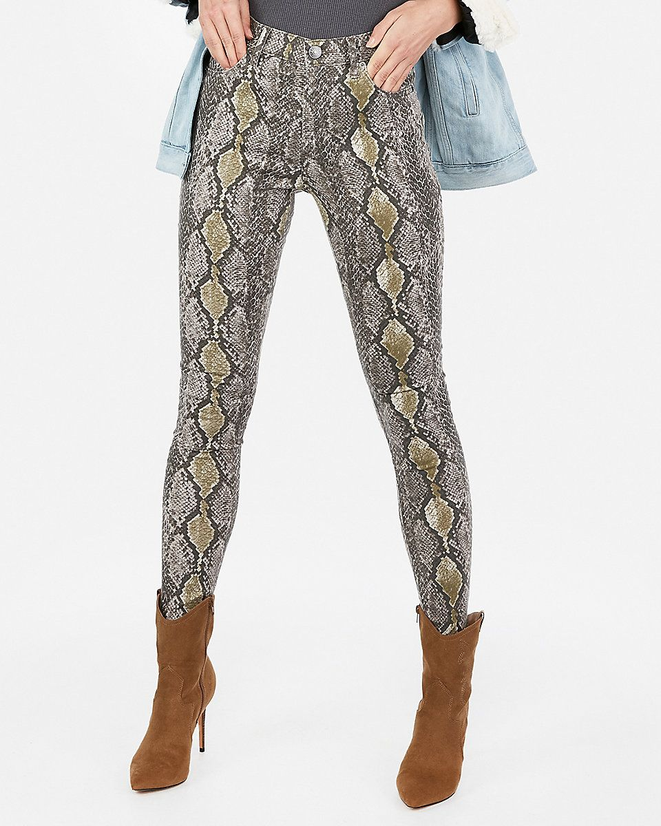 635a7477af7272 High Waisted Snake Print Leggings | Express | Women's Fashion in ...