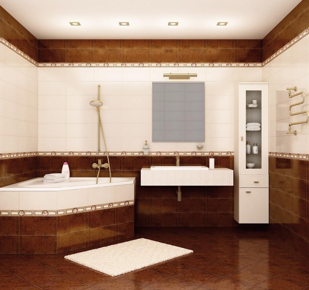 Elegance Pretty Bathroom Set Design With Brown Tile Floor And ...
