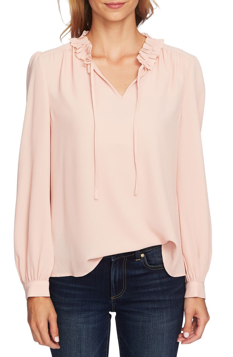 4129742d85 Free shipping and returns on CeCe Ruffle Split Tie Neck Blouse at  Nordstrom.com.
