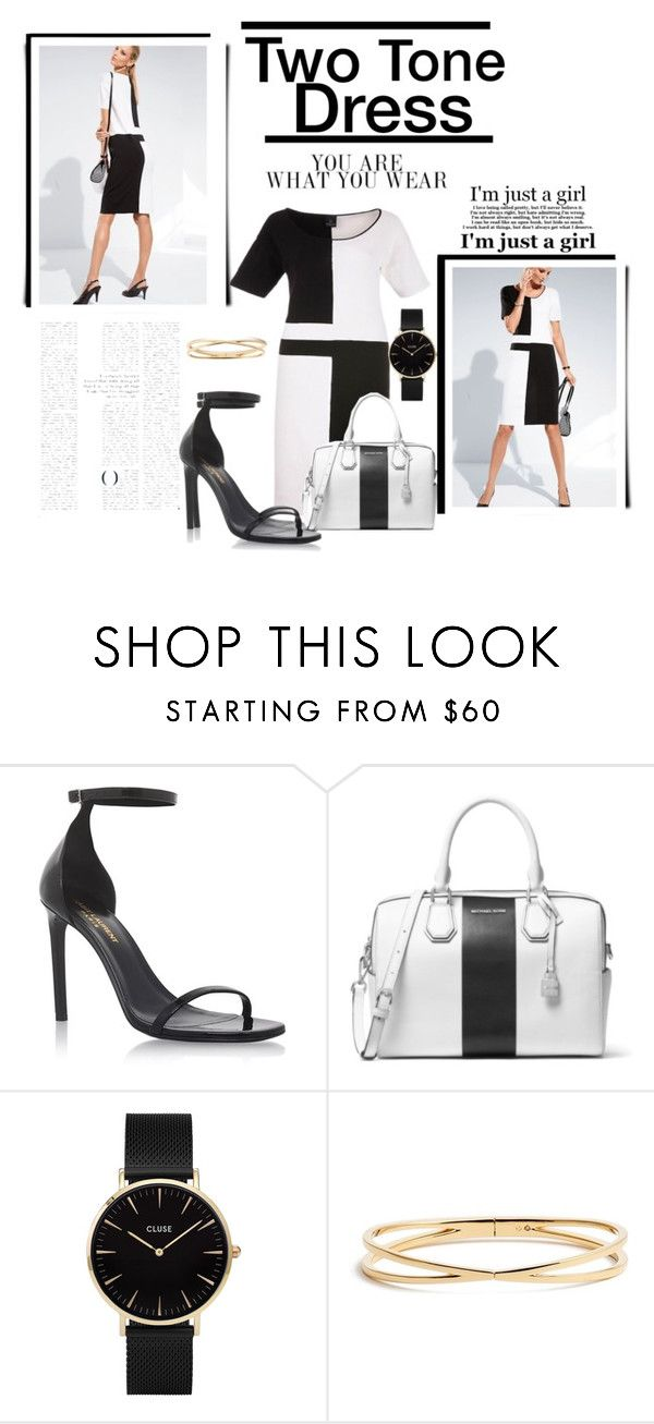 """""""Two Tone Dress"""" by krystalkm-7 ❤ liked on Polyvore featuring Yves Saint Laurent, MICHAEL Michael Kors, CLUSE, Nadri and Graham & Brown"""