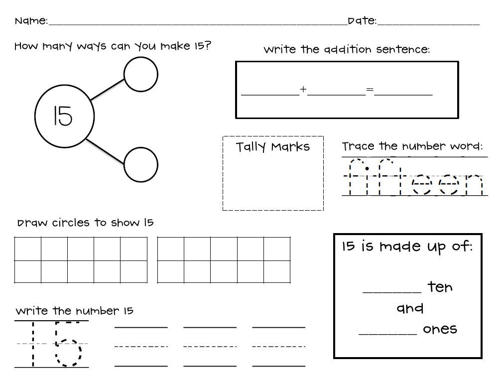 Kindergarten Stars Composing And Decomposing Numbers