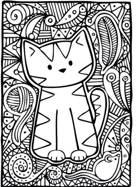 Kitty-Cat Basic Coloring Page | Pewter | Pinterest | Gato, La mente ...