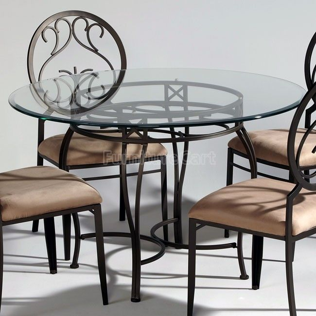 Wrought Iron Glass Top Dining Table Chintaly Imports | THE Perfect  Breakfast Nook Table And Chairs