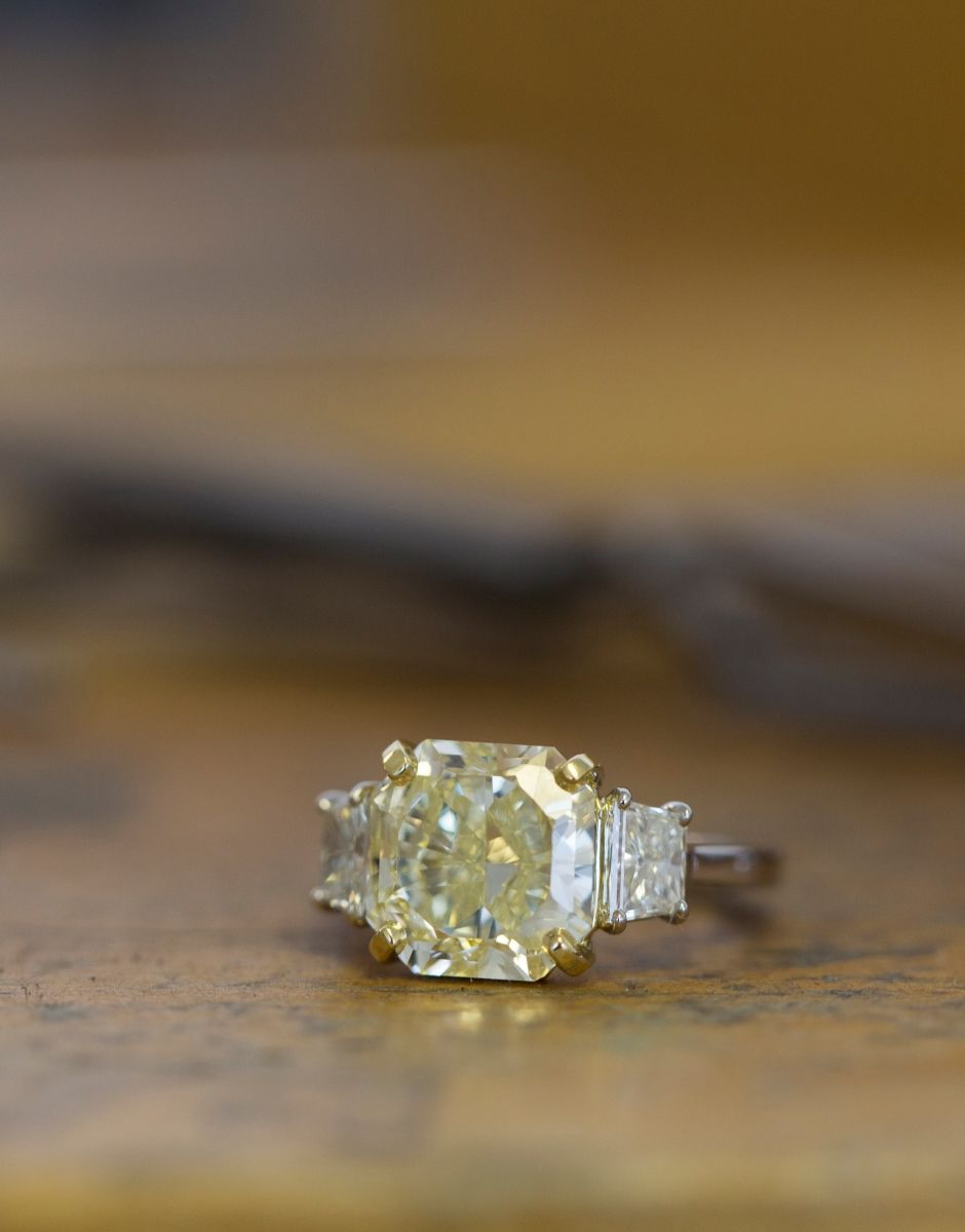 white center yellow with gold engagement diamond ring cushion citrine wedding cut rings rn canary product r