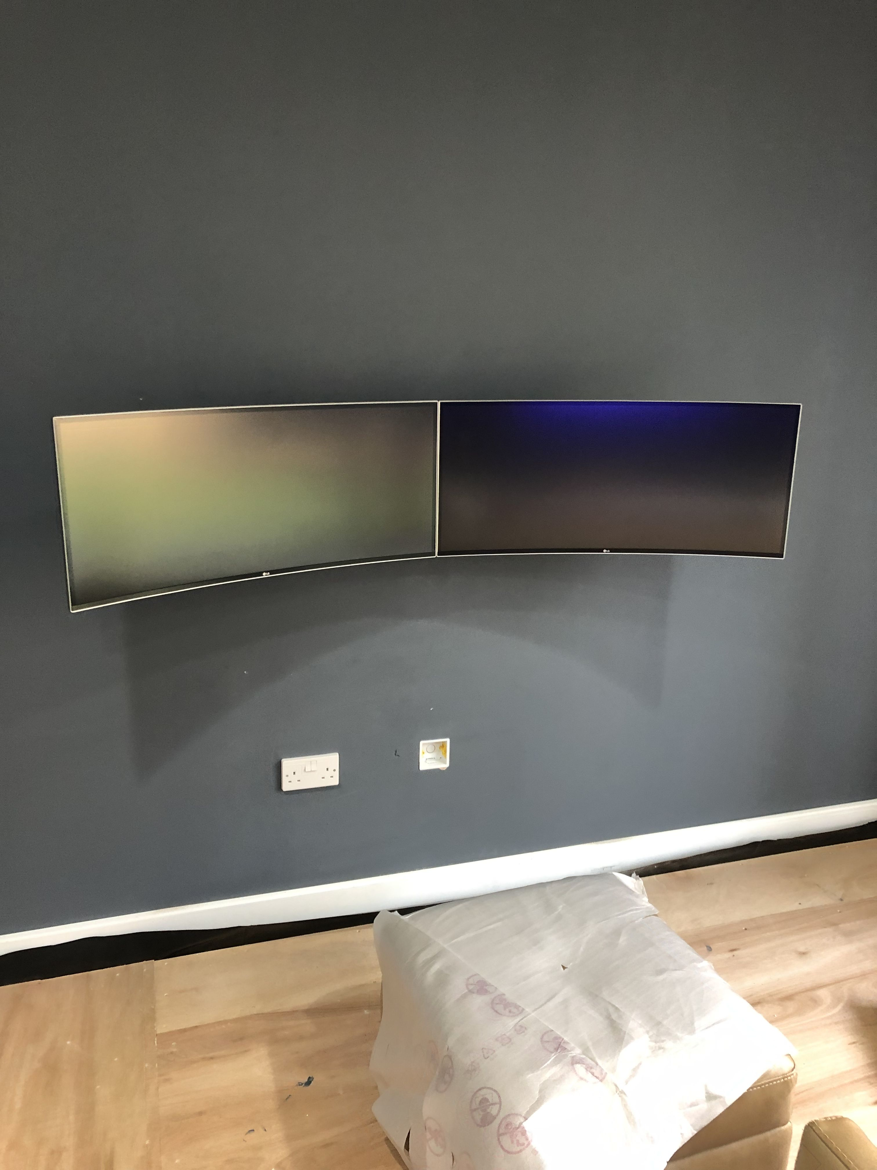 Dual Ultrawide Curved Wall Mounted Monitors Wall Mount Monitors Curved Walls Modern Home Office