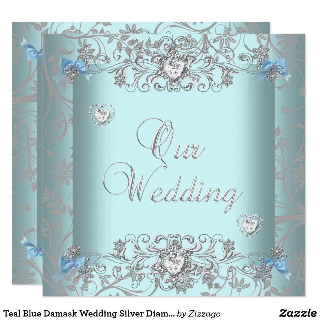 Teal Blue Damask Wedding Silver Diamond Hearts Invitation | Silver wedding  theme, Damask wedding, Silver wedding
