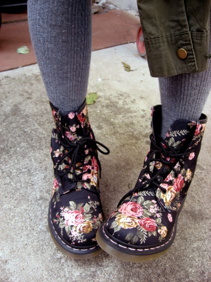 Victorian Flowers Doc Martens. | Boots, Shoes, Stylish boots