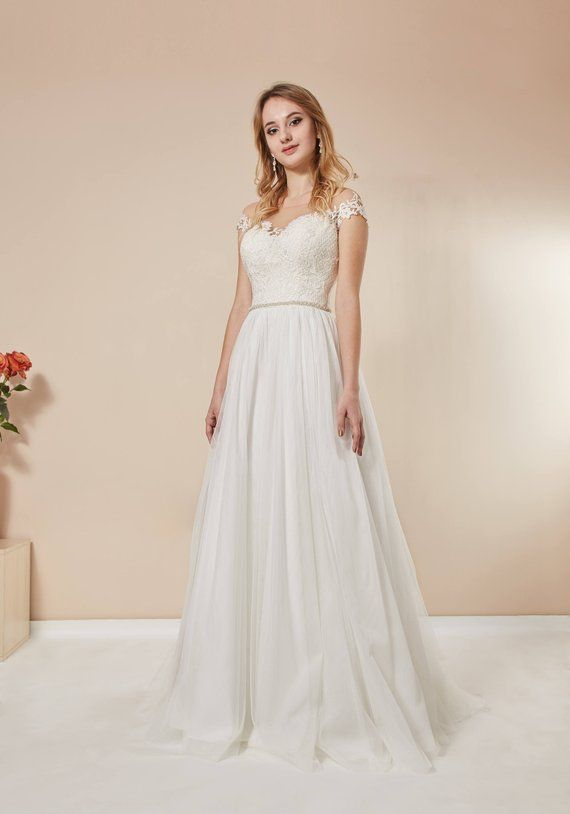 b4a1c75943a1 Bohemian wedding dress english net illusion net lace dress boho  style off-shoulder wedding dress