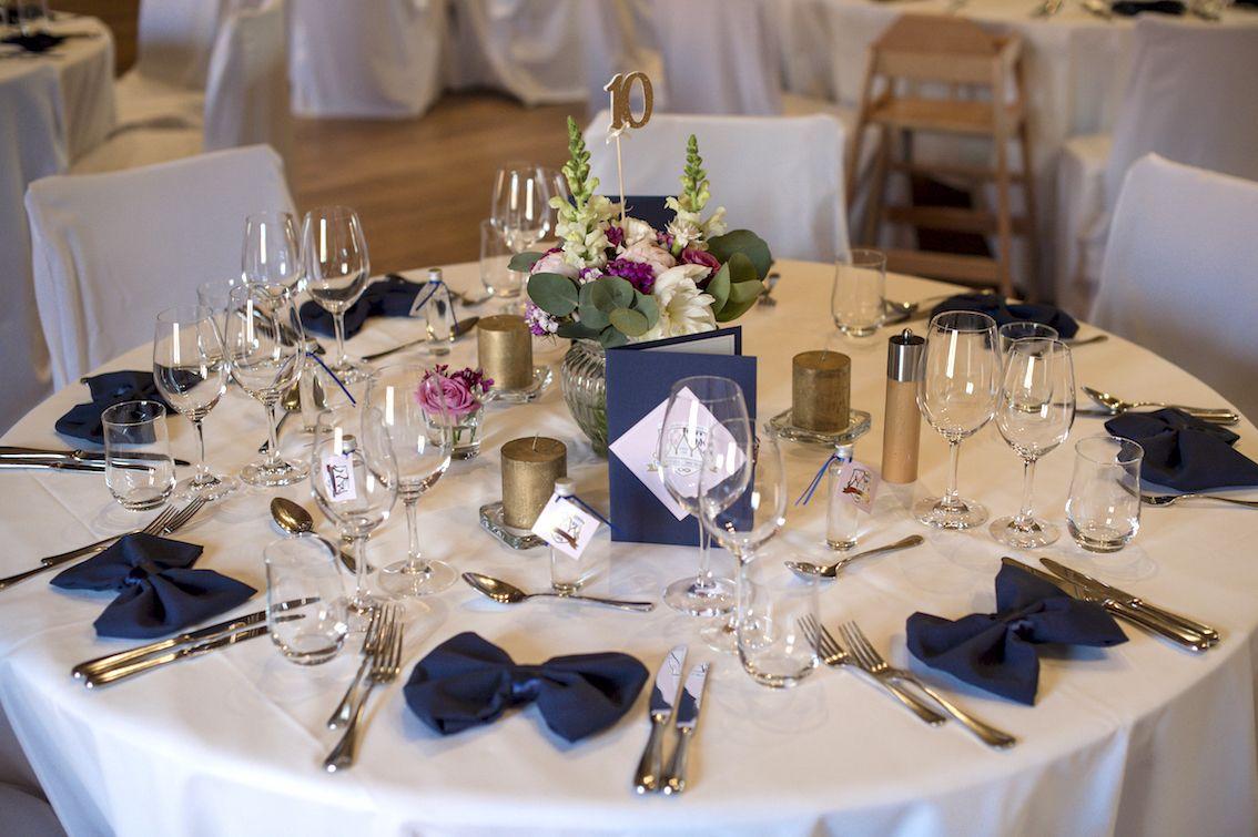Tischdekoration Hochzeit Gold Rosa Blau Furstenfelder