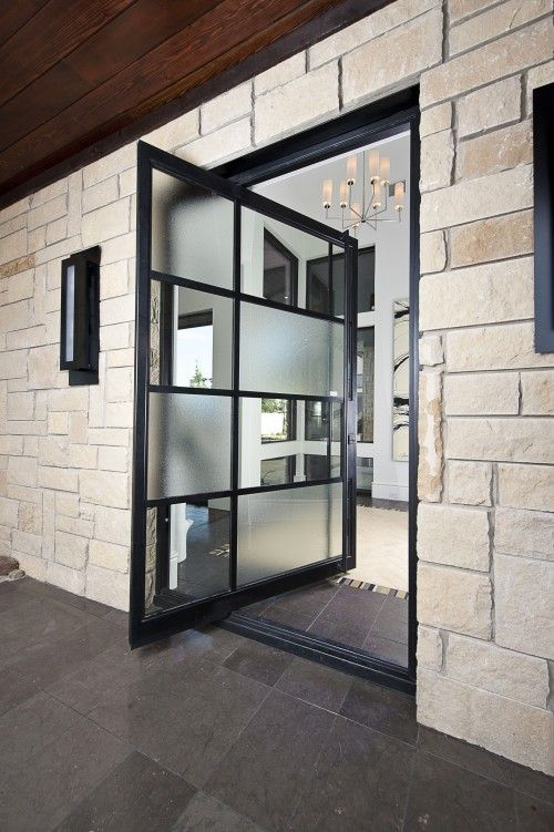 Instead of sliding glass doors.