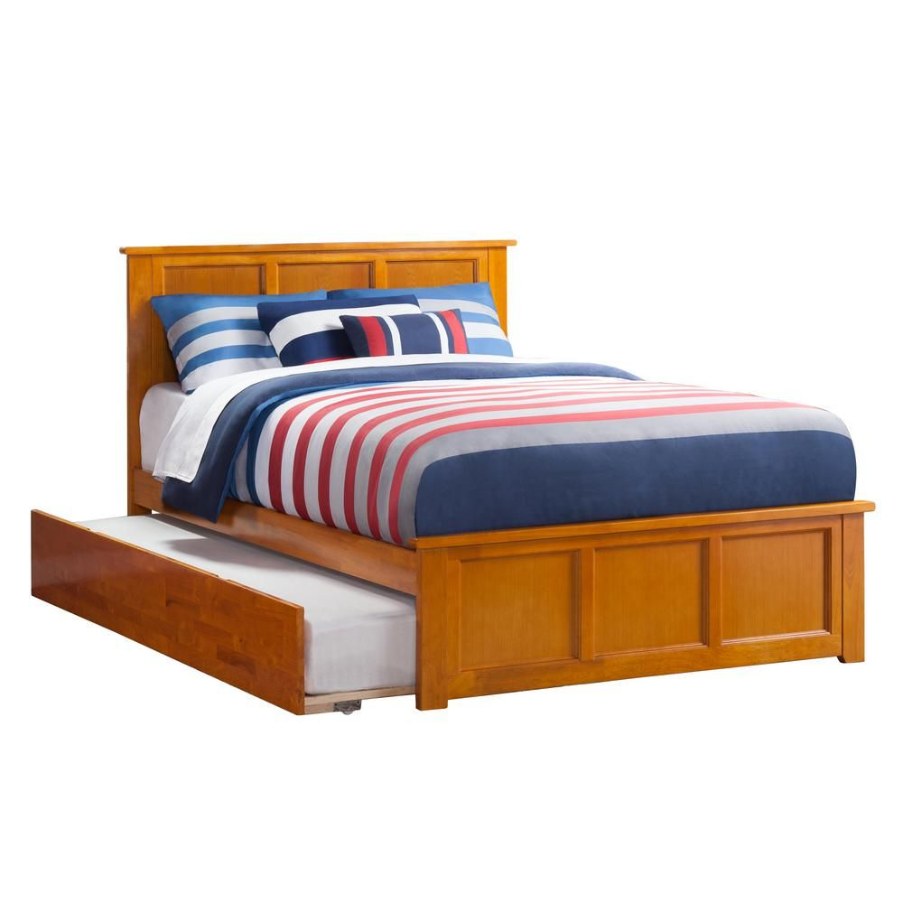 066c4c9d282e2 Atlantic Furniture Madison Full Platform Bed with Matching Foot Board with  Twin-Size Urban Trundle Bed in Caramel Latte