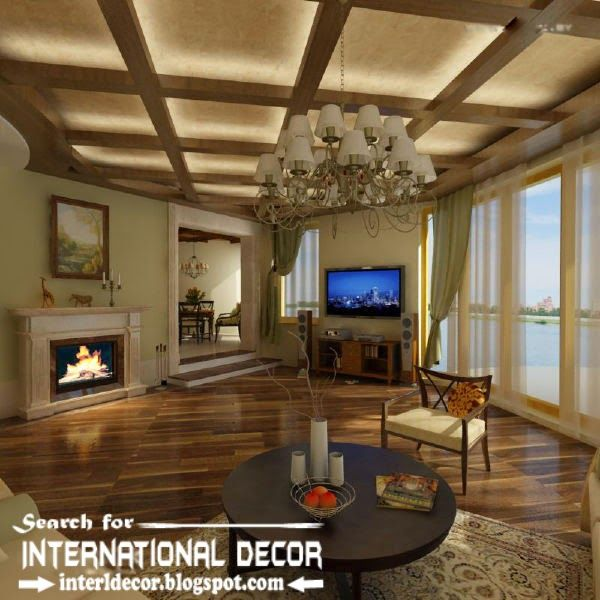 Led ceiling lights coffered ceiling design for living Led lighting ideas for living room