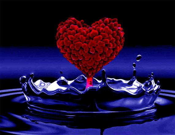Red Heart Dripping into a Blue Pool  Heart Pool   Art by WorldPear, $20.00