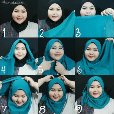 Model Hijab Segi Empat Wajah Bulat