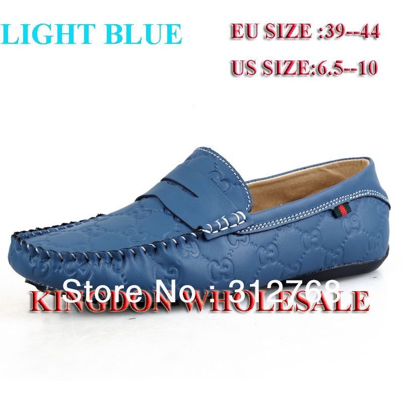 Men's Moccasin Blue Slip On Silver Buckle Leather Loafers Causal Mens Shoes