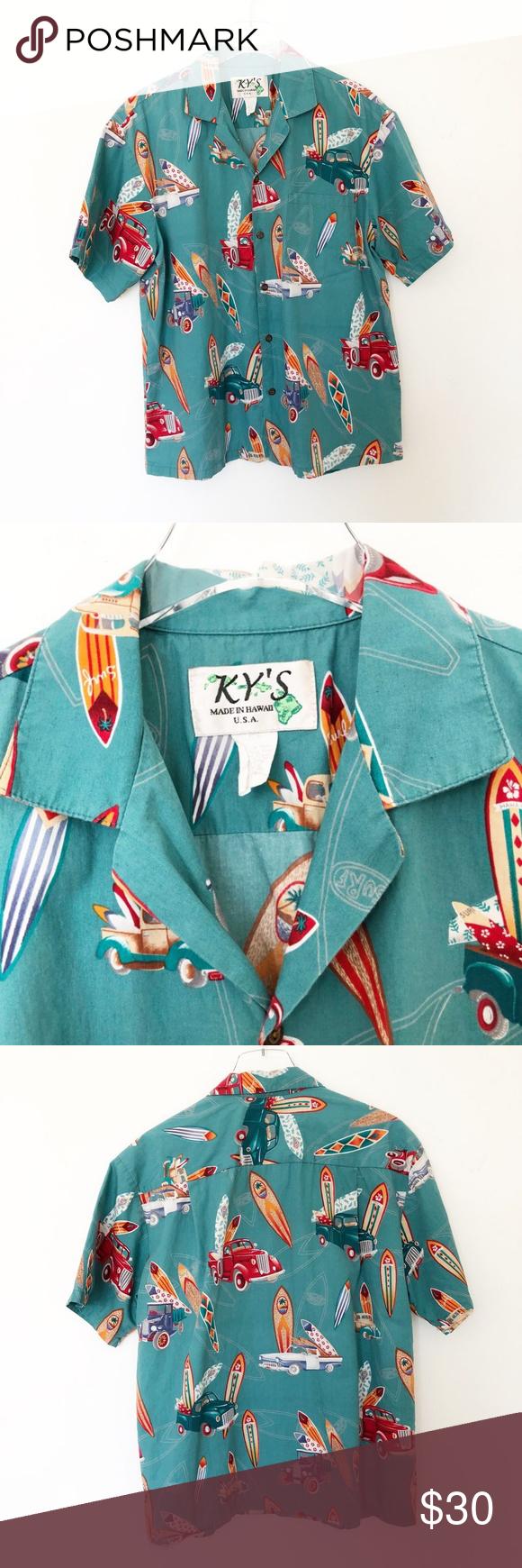 Vintage Kys Trucks Surfboards Hawaiian Shirt L Vintage Shirts Clothes Design Hawaiian Shirt