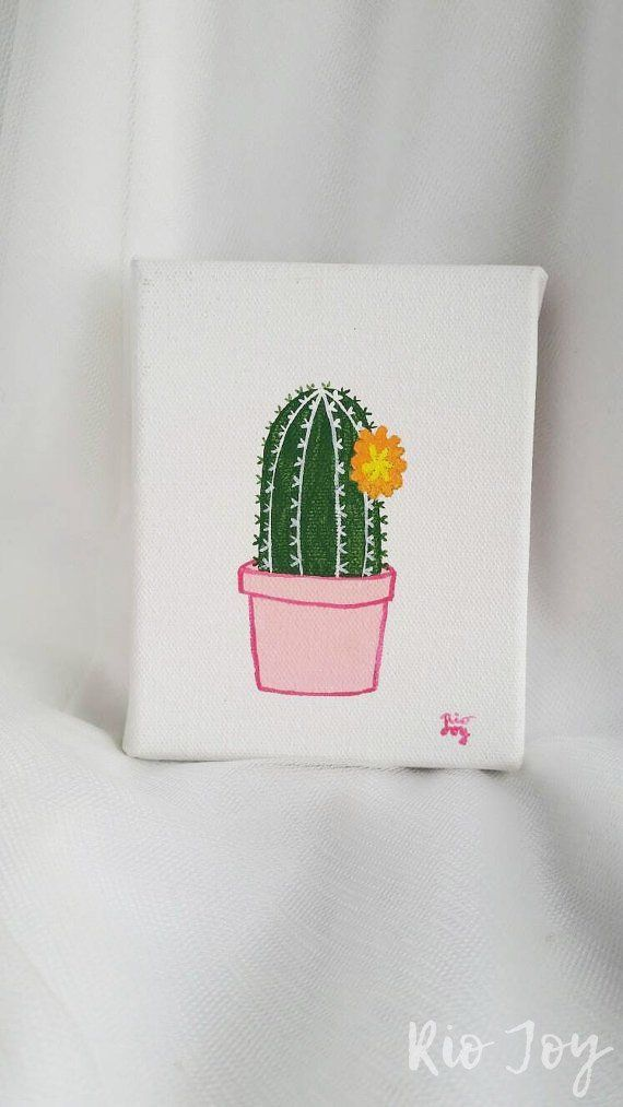 Photo of Cactus painting – cactus painting-succulent rows-small canvas …