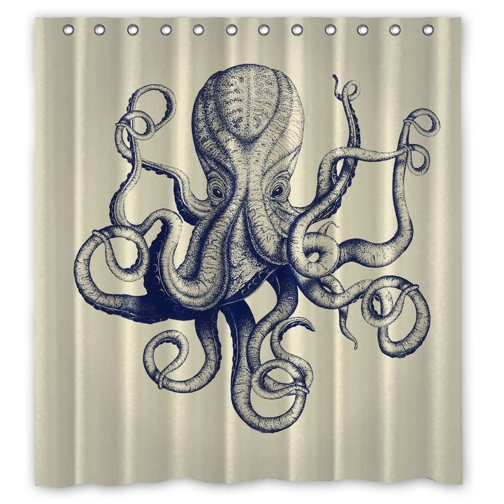 Vintage Octopus Custom Shower Curtain Size 60x72 And 66x72