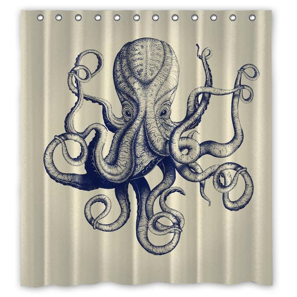 Vintage Octopus Custom Shower Curtain Size 60x72 And 66x72 Unbranded Modern Shower Curtain Homeideas Vintageblinds Floral D G Katespade Dewalt Cnco P