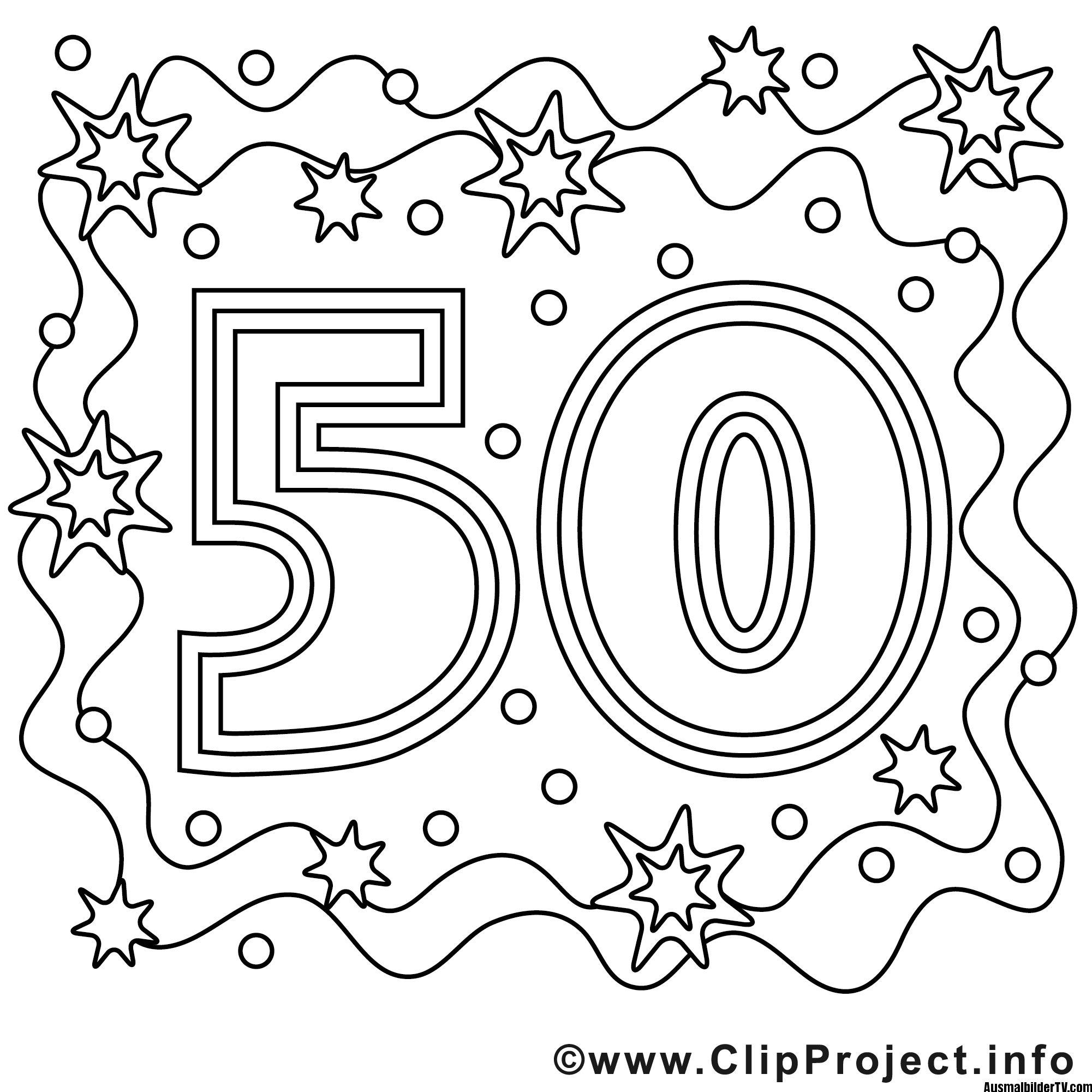 Ausmalbild zum 50 Geburtstag | ausmalbilder | Pinterest | Zum 50 ...