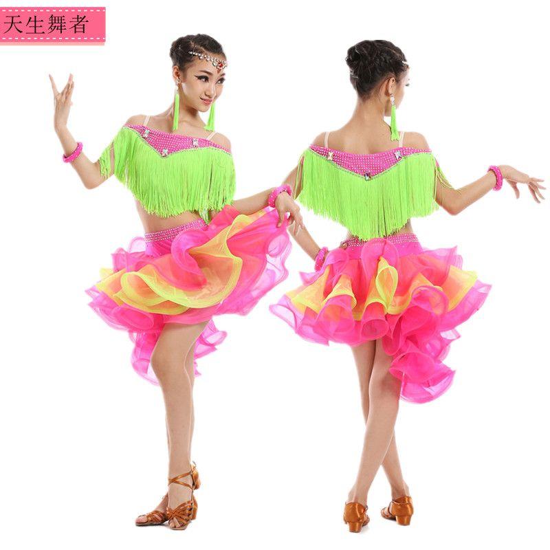 1b408c3a5 Click to Buy << children's Latin dance tassel dress Stage Wear Girls Latin  Ballroom Dance Costume Junior Tango/Salsa Dress #Affiliate