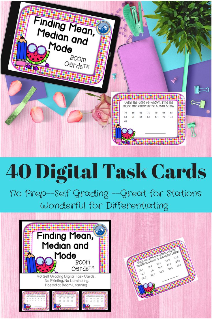 Students Will Have Fun Practicing Mean Median And Mode With A Great Worksheet Alternative That Is Easy To Imple Task Cards Digital Task Cards Algebra Projects [ 1102 x 735 Pixel ]
