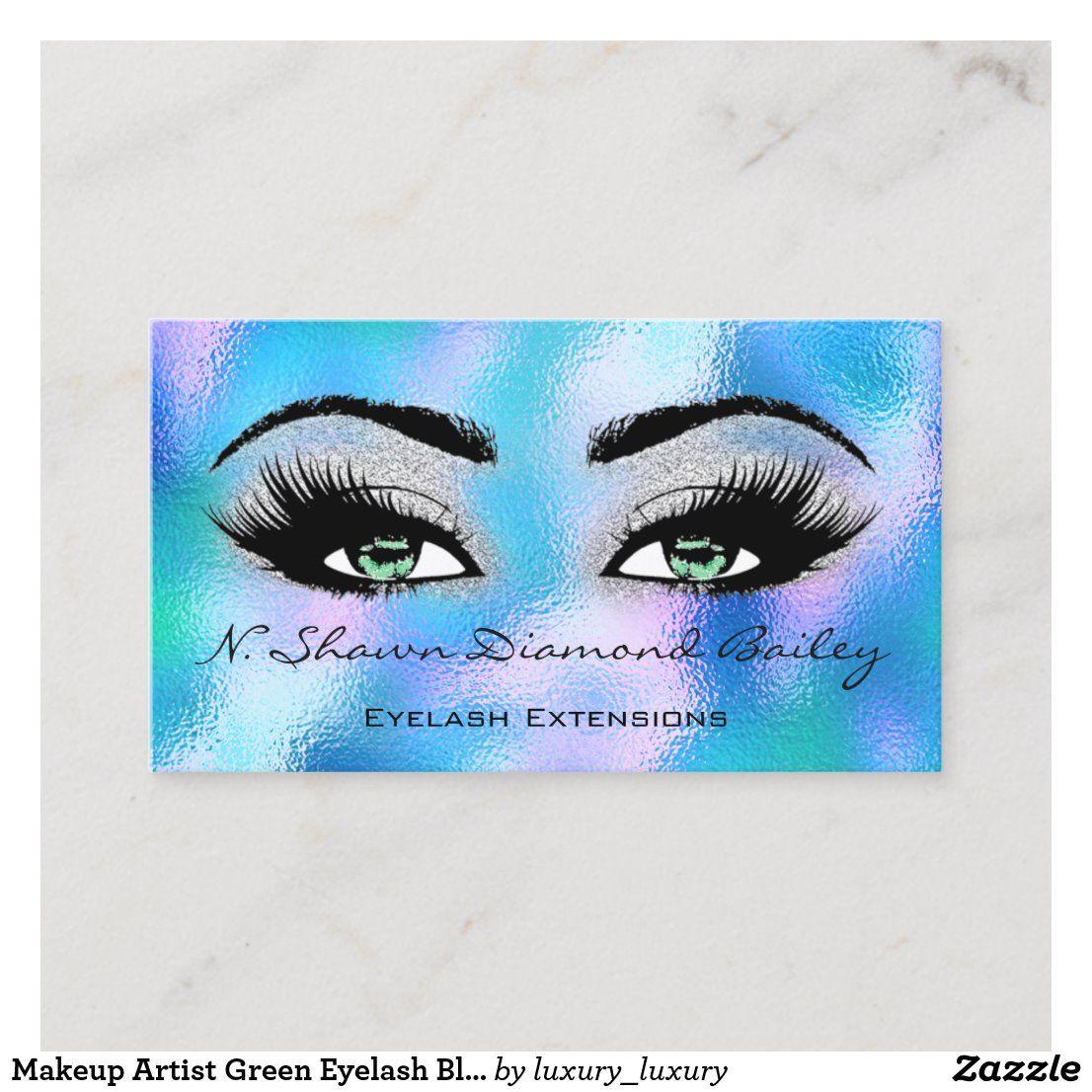Makeup Artist Green Eyelash Blue Holographic GLASS