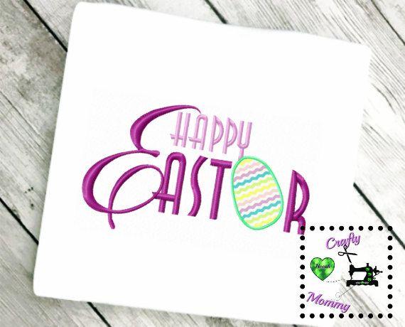 Happy Easter Applique Design - Easter Egg Applique Design - Kids Easter Embroidery Design - Easter Egg Hunt Embroidery Design -  Easter Egg by CraftyHooahMommy on Etsy