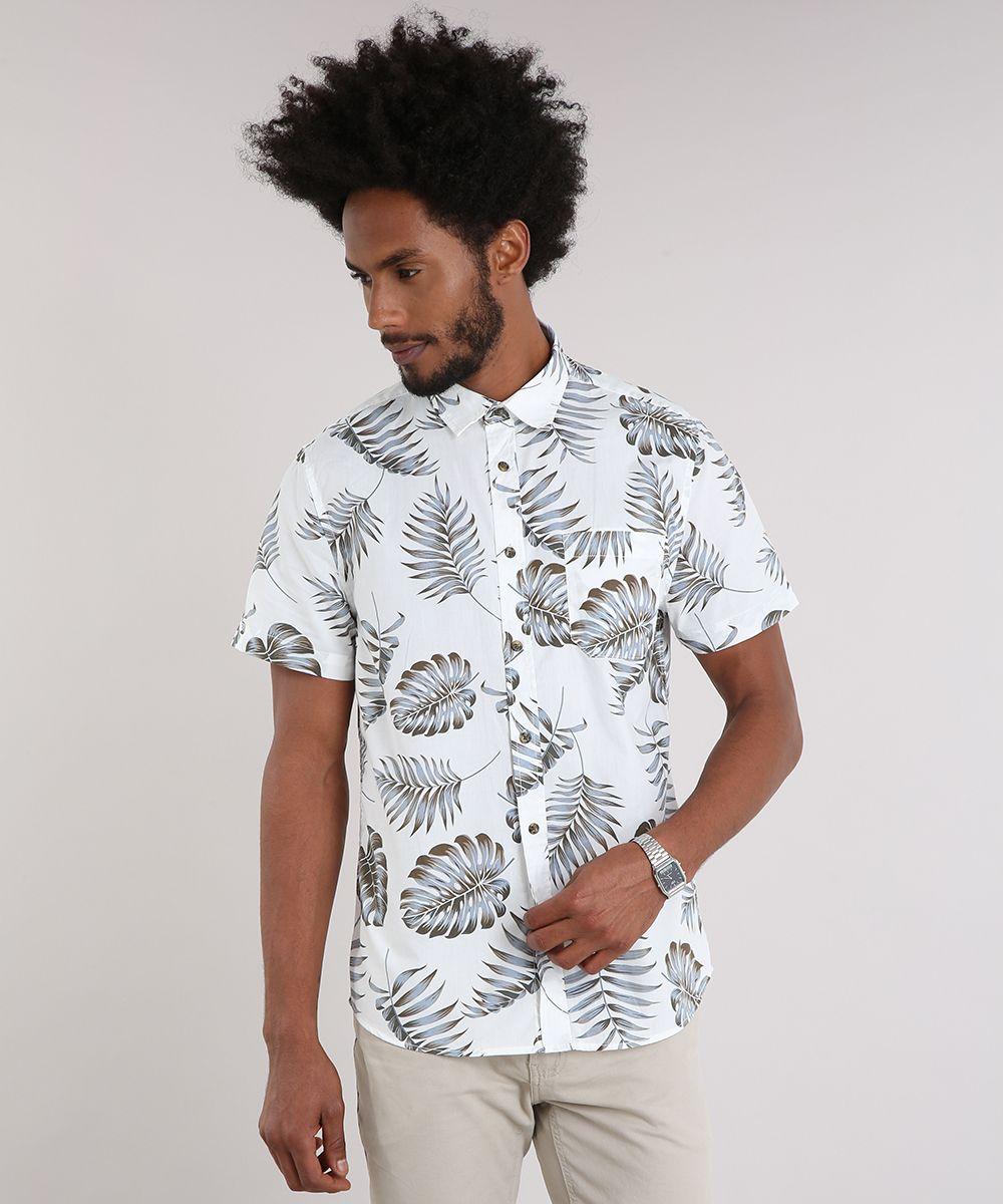 fba68acaad Camisa-Masculina-Estampada-de-Folhagem-com-Bolso-Manga-Curta-Off ...