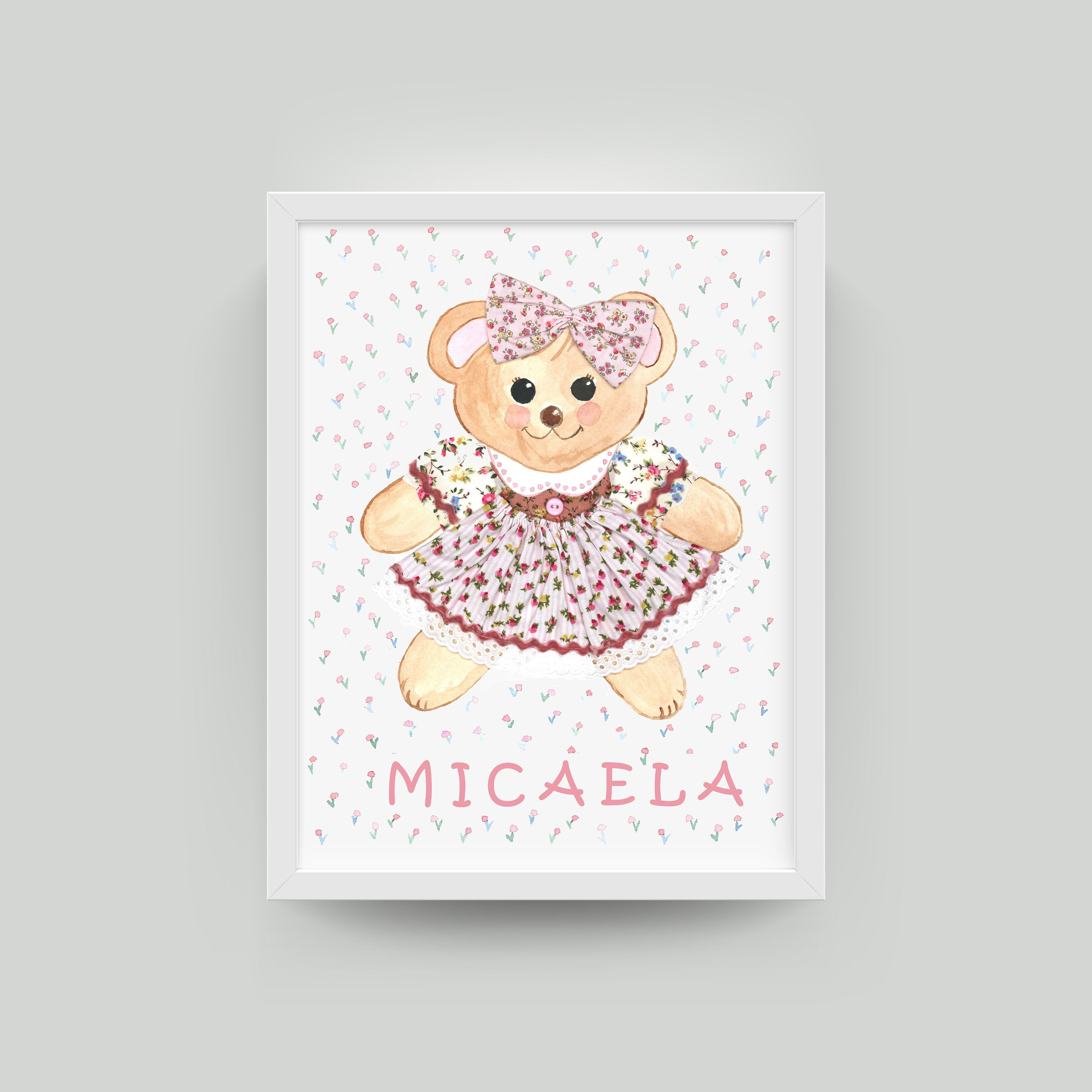 Bear Custom Name Print, Watercolor Personalized Given Baby Girl name Wall Art for Baby Shower Gift Bedroom Nursery Home decor